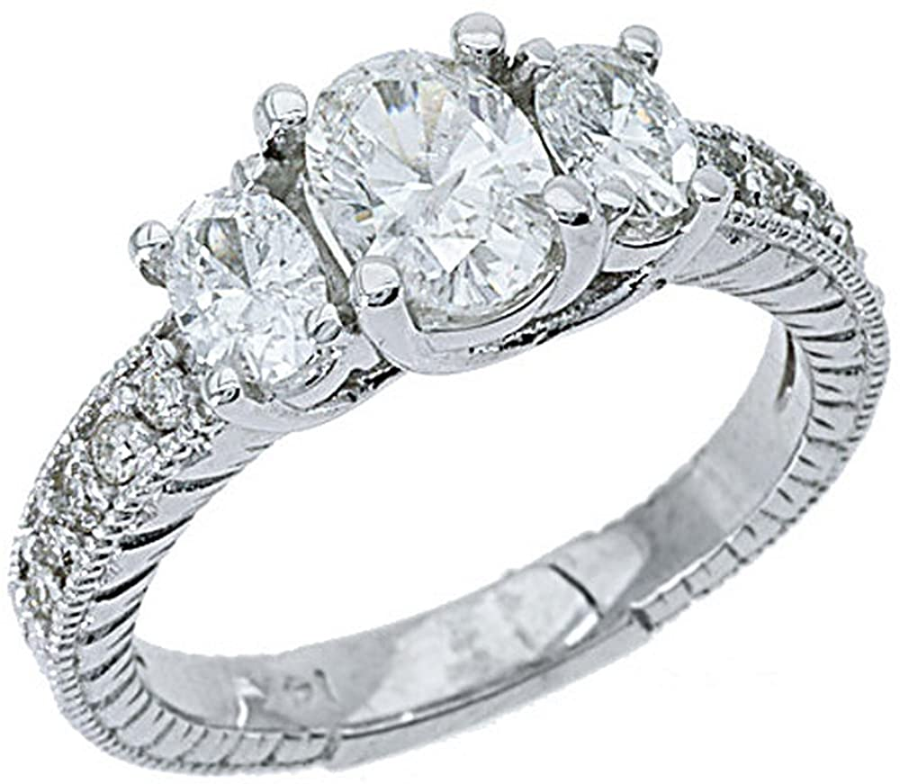 14k White Gold 3-Stone Oval Antique Diamond Engagement Ring 1.50 Carats