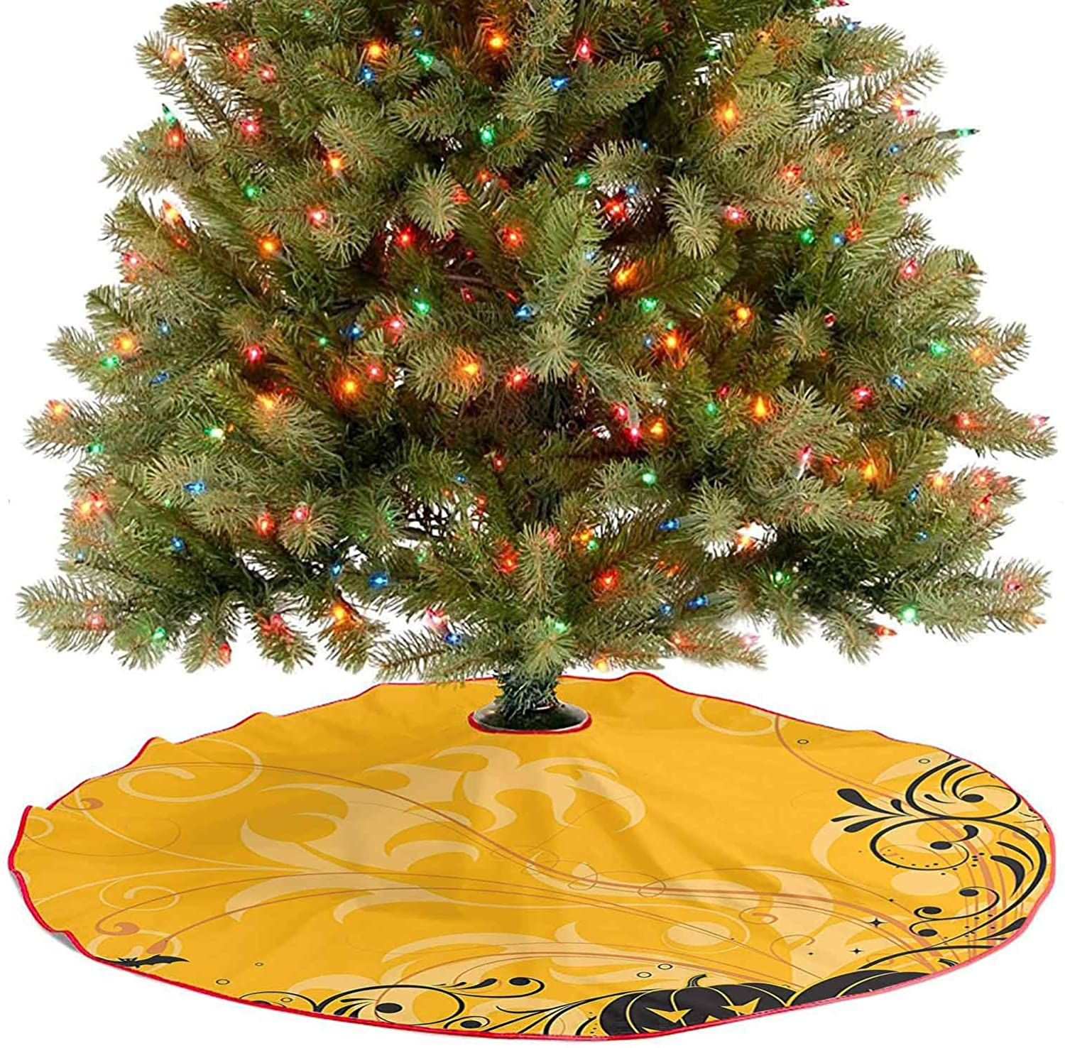 Modern Tree Skirt Carved Pumpkins with Floral Patterns Bats and Spider Web Horror Themed Artwork Orange Christmas Trees Mat Decorations Indoors Your Cat May Enjoy Laying on The Tree Skirt - 48 Inch