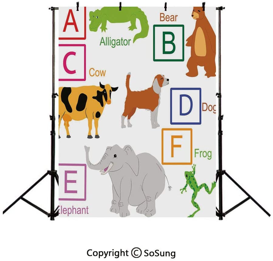 8x10Ft Vinyl Educational Backdrop for Photography,Alphabet Letters with Cute Zoo Animals Kids Fun Preschool Teaching Collection Decorative Background Newborn Baby Photoshoot Portrait Studio Props Birt