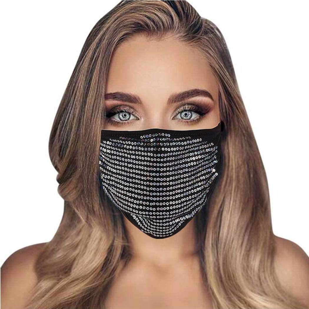 Bmirth Sequin Face Mask Breathable Masquerade Mouth Covering Halloween Rave Nightclub Party Christmas Porm Face Decorative for Women and Girls (Silver)