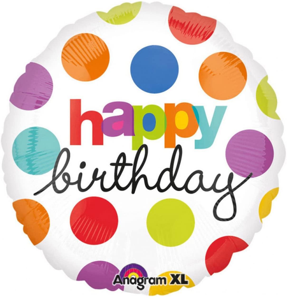 Anagram International Hx Polka Dot Birthday Balloon, Multicolor