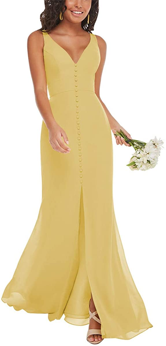 V Neck Bridesmaid Dresses Long Mermaid Chiffon Formal Evening Gowns with Slit