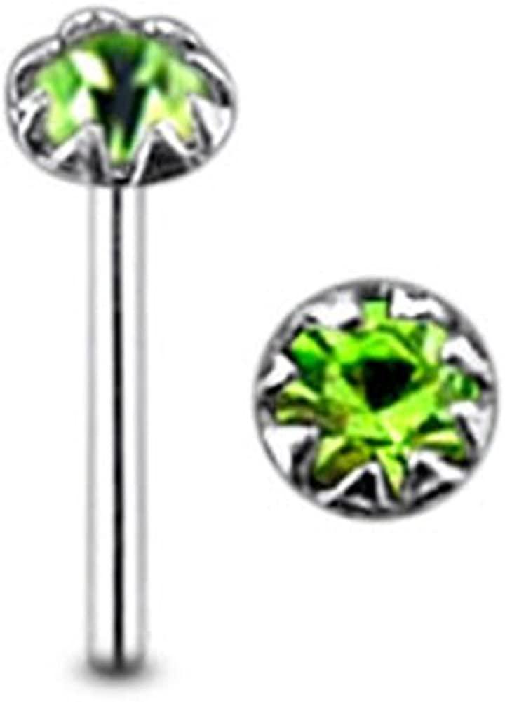 AtoZ Piercing Flower Set Round Gemstone Top 22 Gauge - 8MM Length Silver Straight End Nose Stud Nose Pin