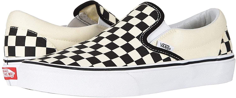 Vans Unisex Classic Slip-On (Checkerboard) Skate Shoe (9 M US, Black/Off White Check)