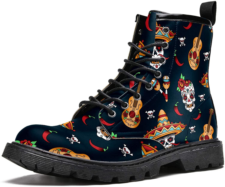 LORVIES Dia De Los Sugar Skull Men's High Top Boots Lace Up Casual Leather Ankle Shoes