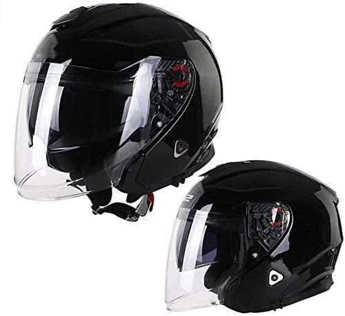DEWUFAFA Motorcycle Helmet Helmet/DOT Certification/Retro Adult Motorcycle Half Helmet with UV Double Sunshade Goggles Four Seasons Men and Women ATV Helmet Helmet (Size : Medium)