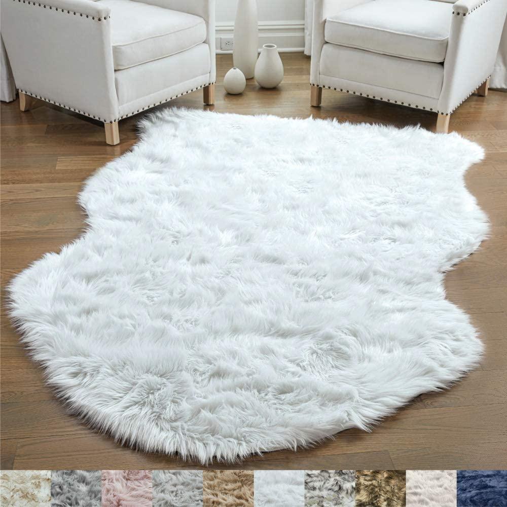 Gorilla Grip Original Premium Faux Sheepskin Fur Area Rug, 3x5, Softest, Luxurious Shag Carpet Rugs for Bedroom, Living Room, Luxury Bed Side Plush Carpets, Sheepskin, Pure White