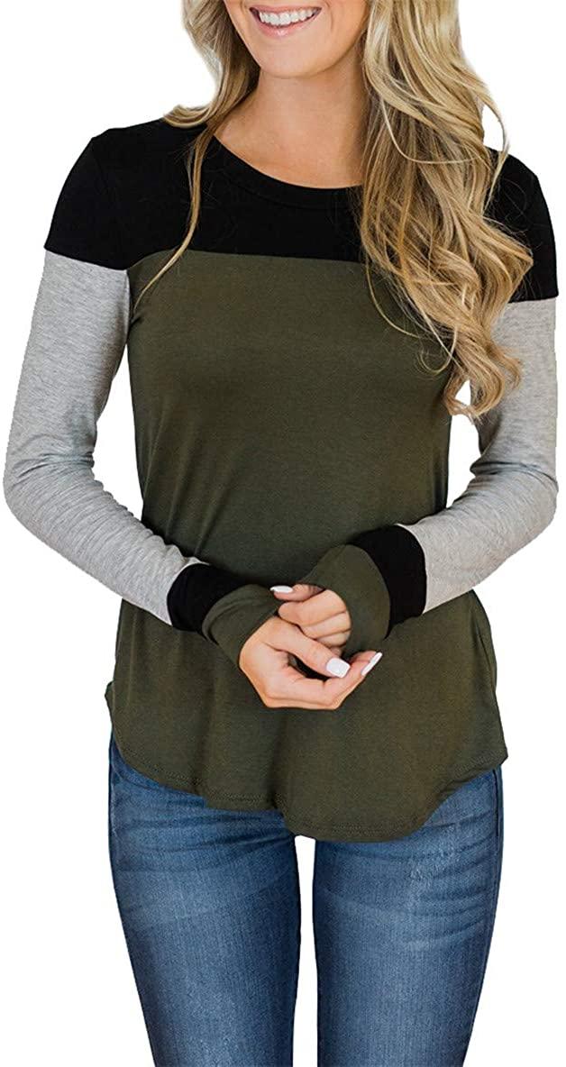 Topstype Womens Long Sleeve Tops Crew Neck Color Block Tunics Casual Elegant Blouse Henley Shirts