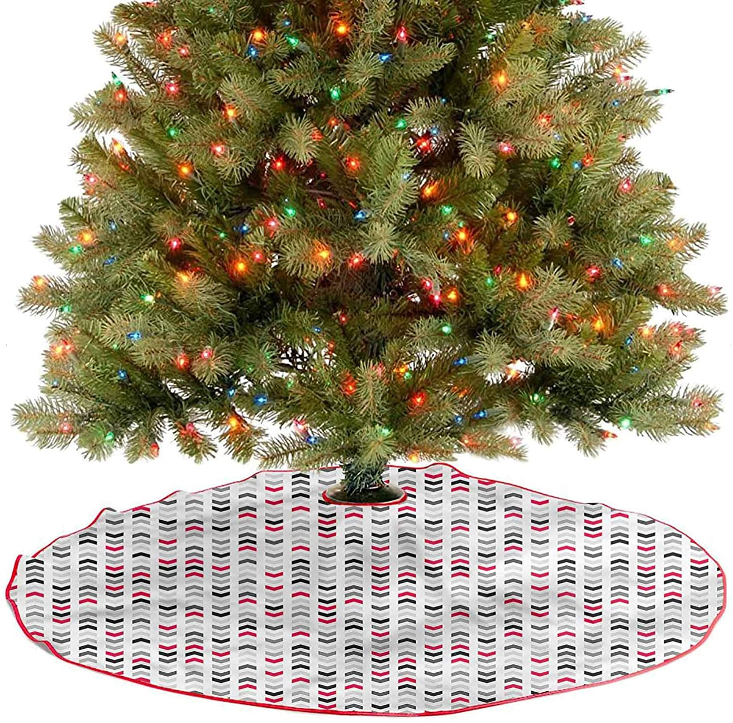 ThinkingPower Tree Skirt Decor Red Zig Zags Chevron Traditional Christmas Tree Mat for Christmas Holiday Party Diameter - 48 Inch