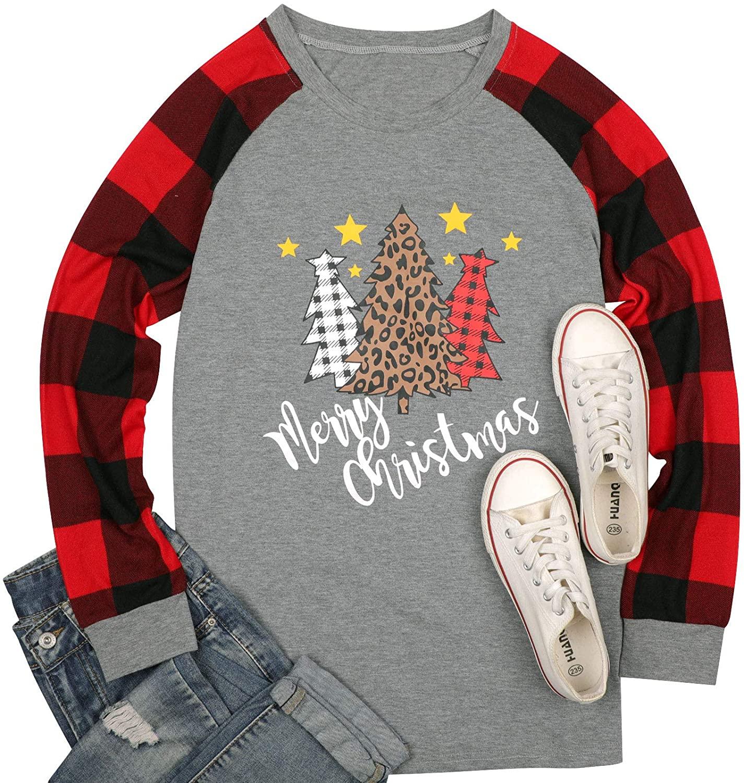 Merry Christmas Shirt Women Leopard Plaid Tree Graphic Letter Print Long Sleeve T-Shirt Round Neck Baseball Tee Tops