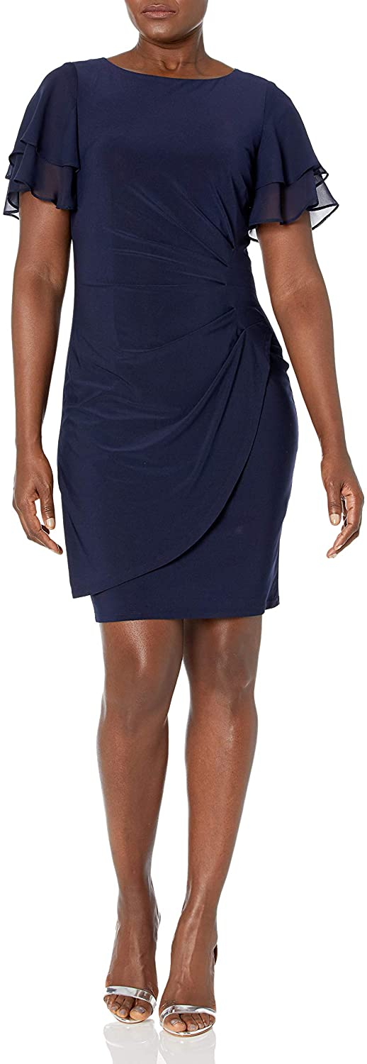 Jessica Howard Women's Layered Butterfly Sleeve Side Tuck Sheath Dress with Tulip Wrap Skirt