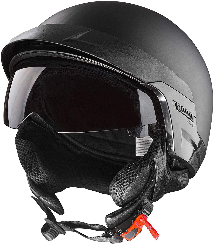 CARTMAN Helmet Motorcycle Open Face Sun Visor Quick Release Buckle DOT Approved, Small