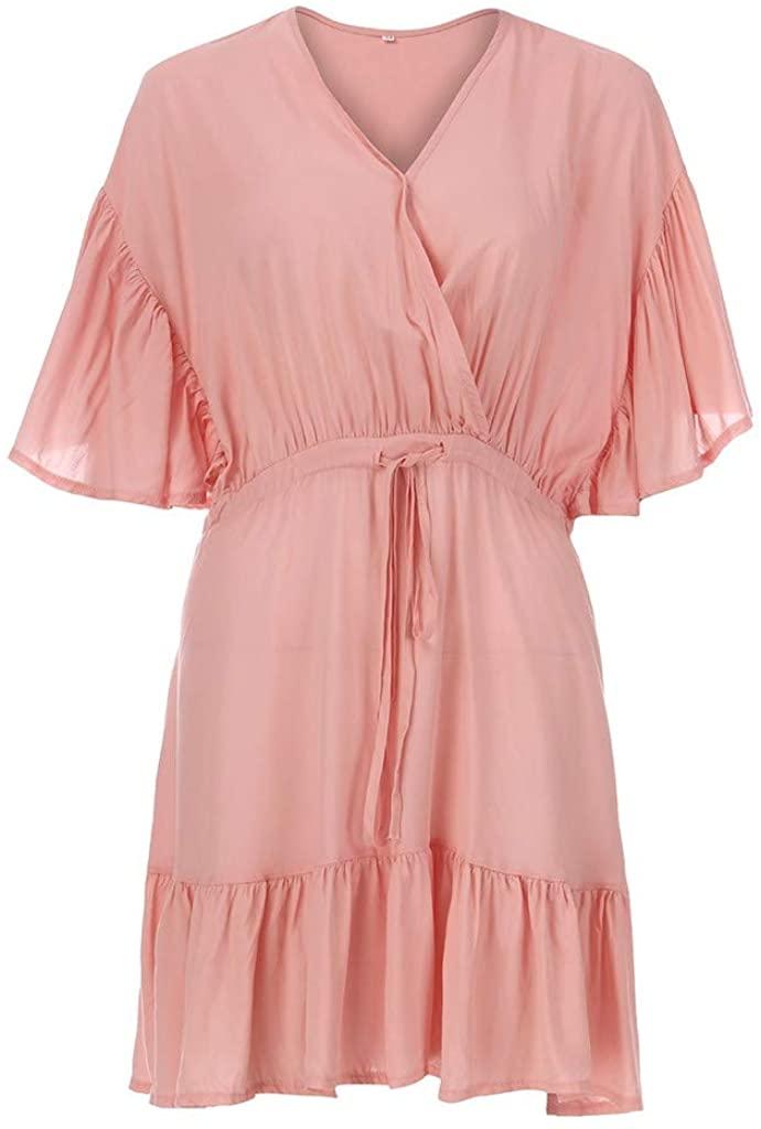 Women's Casual Summer Ruffle Babydoll Loose Mini Dress Petal Short Sleeve Tiered Dresses