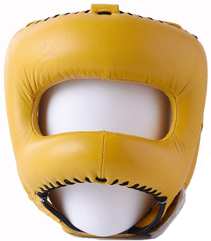 Sporting Goods Boxing Training Head Guard Leather Boxing Headgear MMA Protector Headgear Fighting Sparring Helmet.