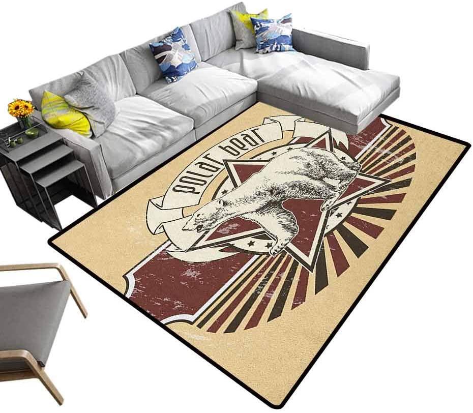 Modern Area Rug Animal, Geometric Area Rug Vintage Retro Polar Bear Label with Bold Stripes Artwork Image for Living Room/Bedroom Floor Peach White Black and Burgundy, 7 x 7 Feet