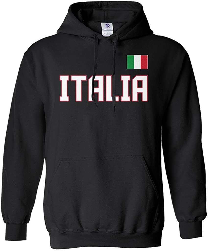 Threadrock Men's Italia National Pride Hoodie Sweatshirt