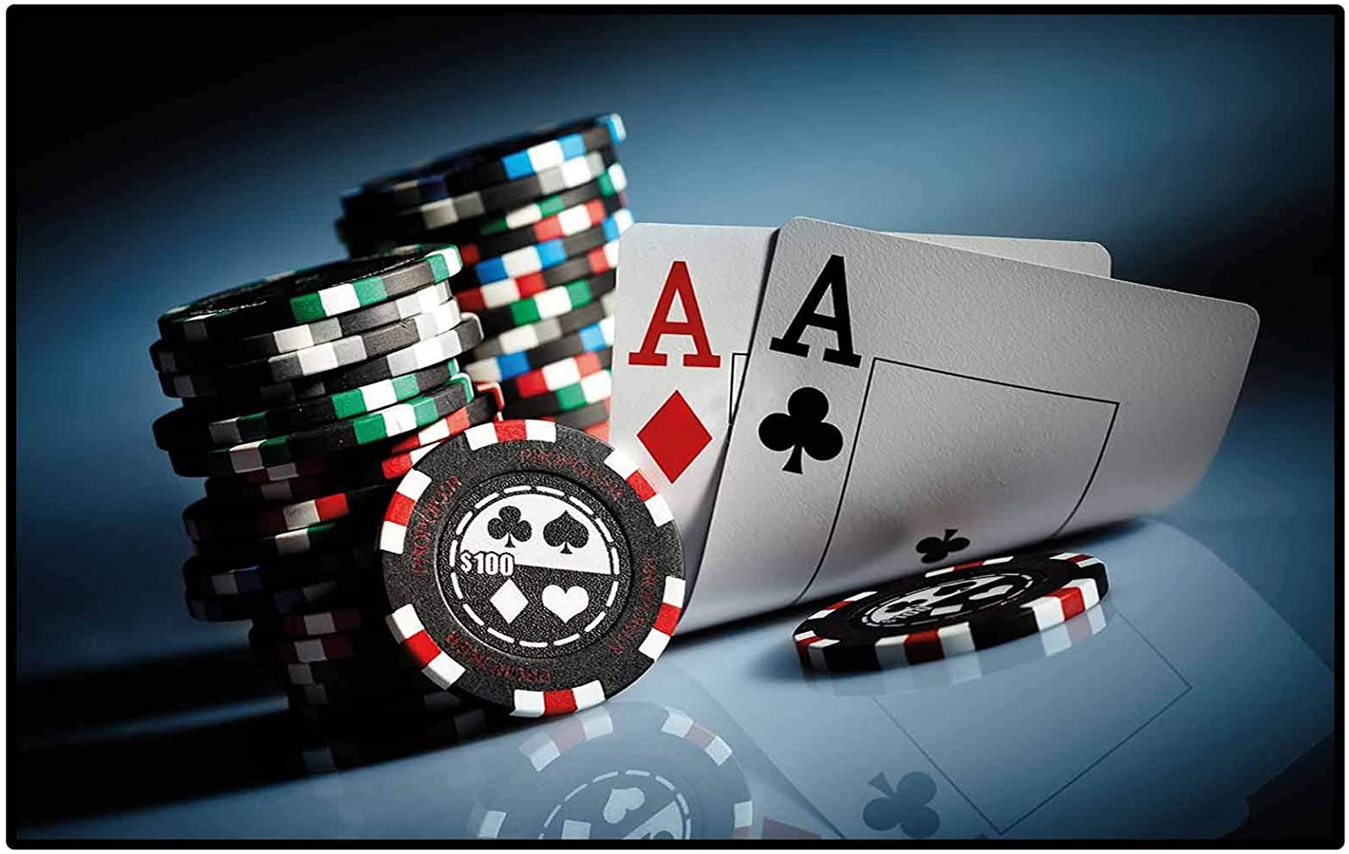 Kids Rugs for Living Room Bathroom Rugs and mats Sets Poker Tournament Decorations,Gambling Chips and Pair Cards Aces Casino Wager Games Hazard,Multicolor Childs Kids Home Decor Rugs