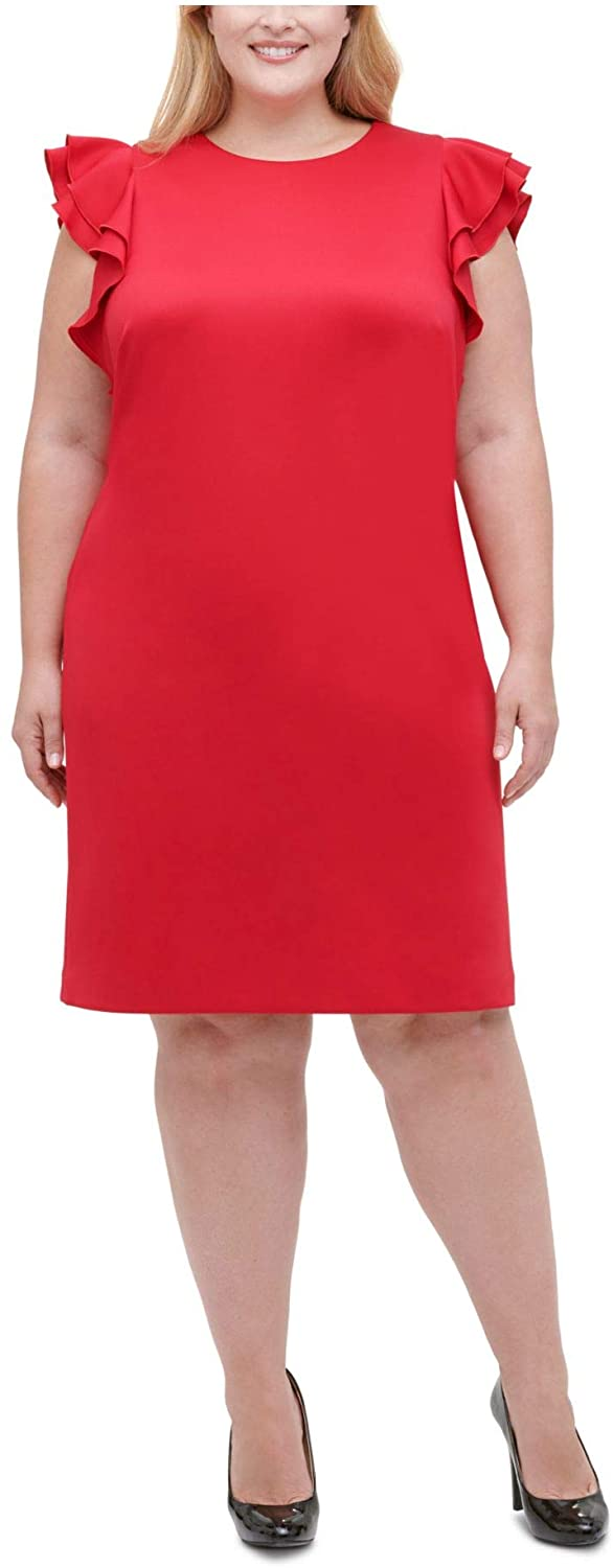 Tommy Hilfiger Womens Red Ruffled Zippered Cap Sleeve Jewel Neck Knee Length Shift Cocktail Dress Size 16W