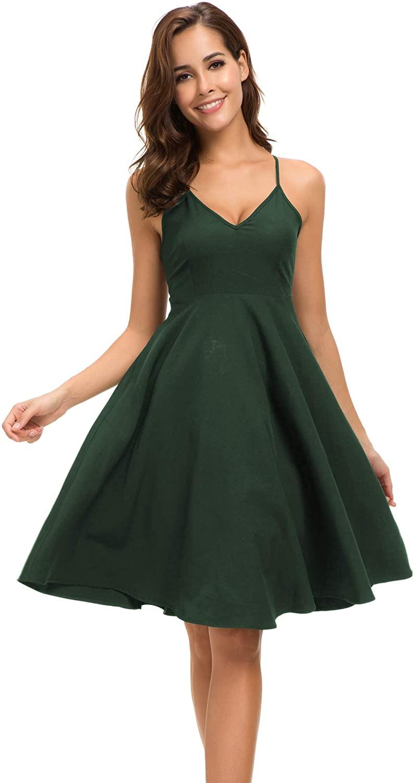Justalwart Womens Straps Trapeze Dresses Sleeveless Summer Swing Dress