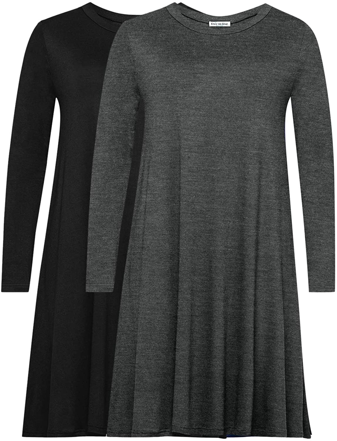 Free to Live 2 Pack Women's Long Sleeve Casual Loose Fit Flowy Top Dresses