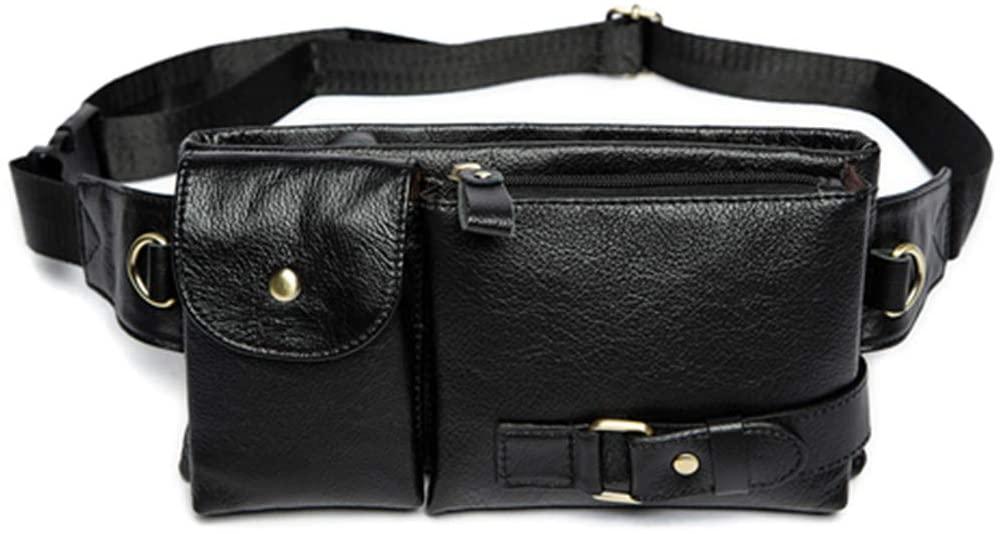 DiaoPiou Genuine Leather Men Waist Packs Fanny Pack Hip Belt Bag Travel Phone Pouch Bags Waist Bag