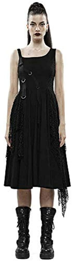 Punk Rave Women's Punk Rebellious Girl Irregular Dress Knit Printed Dark Mesh Metal Buckle Sling Sleeveless Casual Dres