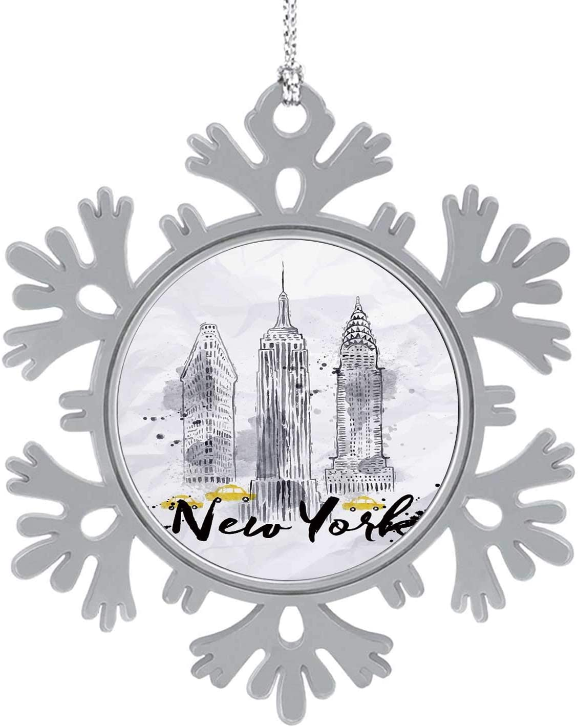 New ork skscrapers Empire State Building in STLE Drawing with Drops and Splashes on Crumpled Paper,Silver Snowflakes & Snowflakes Hanging New Year Party Home Decoration 1PCS