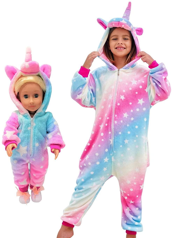 Unicorn Pajamas Onesie Costume Matching Doll & Girls Gifts