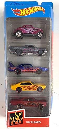 HW Flames 5 Pack (Passn Gasser, 71 El Camino, 70 Plymouth Superbird, 71 Maverick Grabber, 70 Road Runner)