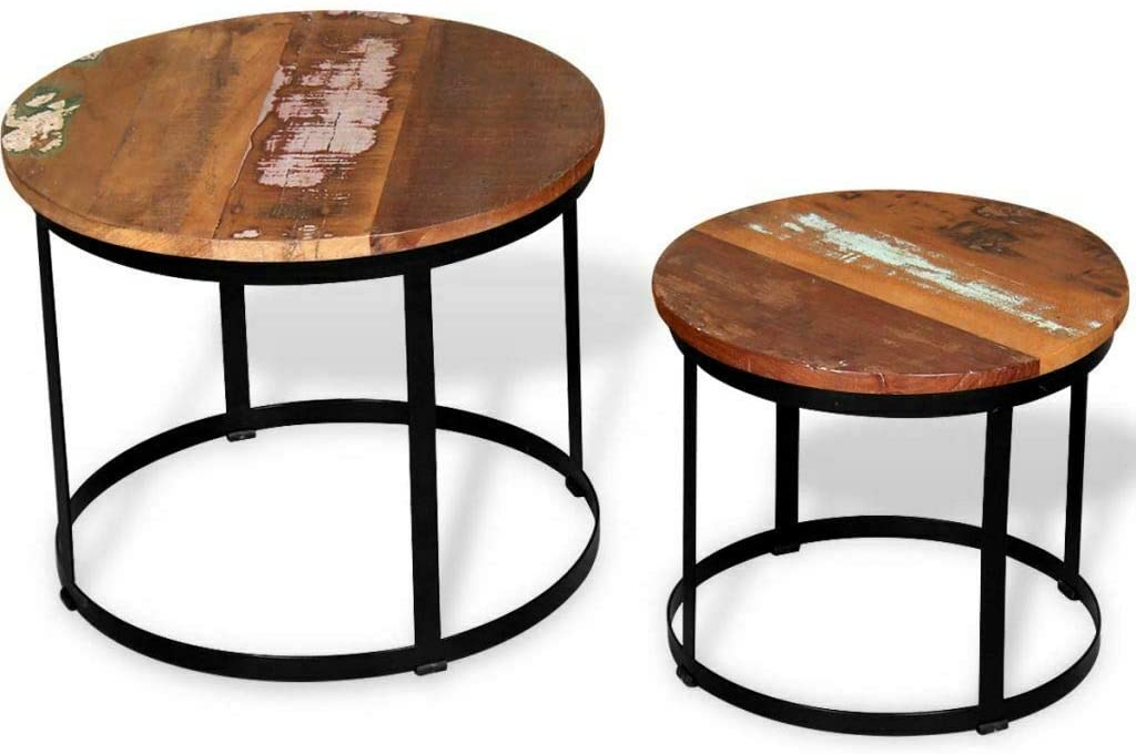 Simple Happyness 2Pcs.CoffeeTable Side Sofa End Home Shop Decor Living Room Bedroom Lobby Craftsmanship Reclaimed Wood Metal Frame Round Stable Sturdy Durable Multi-Natural Wood Color Set of 1