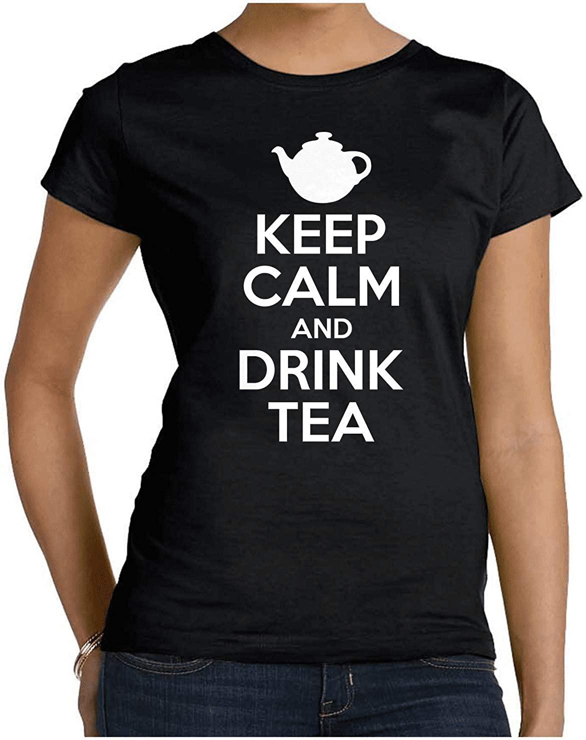 HARD EDGE DESIGN Women's Keep Calm and Drink Tea Crew Neck T-Shirt, X-Large, Black