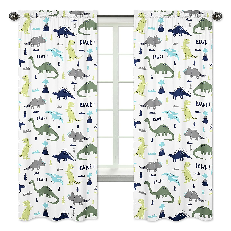 Blue and Green Modern Dinosaur Bedroom Decor Window Treatment Panels - Set of 2
