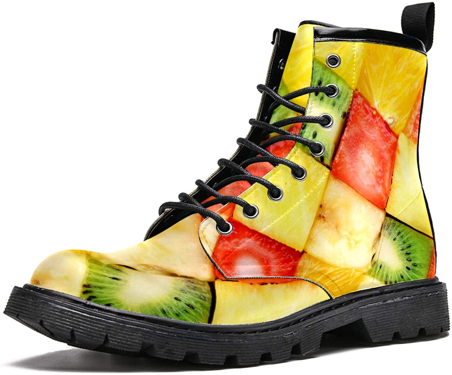 LORVIES Colorful Sliced Fruits Men's High Top Boots Lace Up Casual Leather Ankle Shoes