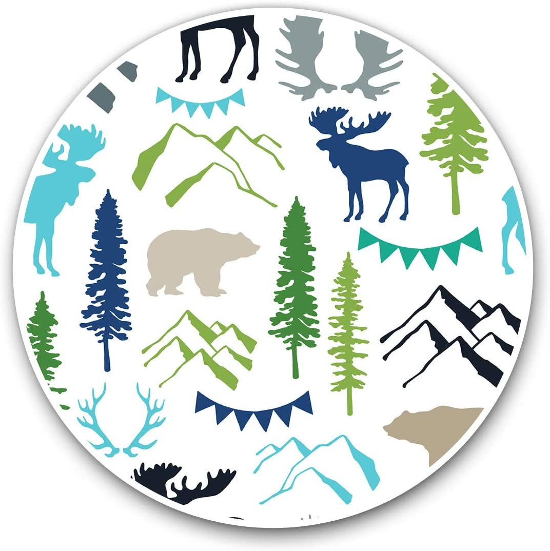 Awesome Vinyl Stickers (Set of 2) 10cm - Moose Bear Print Mountain Pine Tree Fun Decals for Laptops,Tablets,Luggage,Scrap Booking,Fridges,Cool Gift #8188