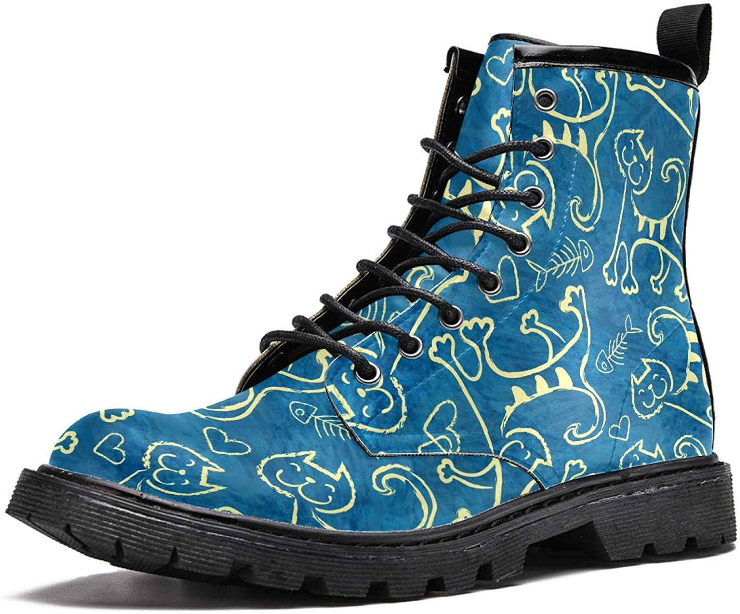 LORVIES Cute Cartoon Doodle Cats Men's High Top Boots Lace Up Casual Leather Ankle Shoes