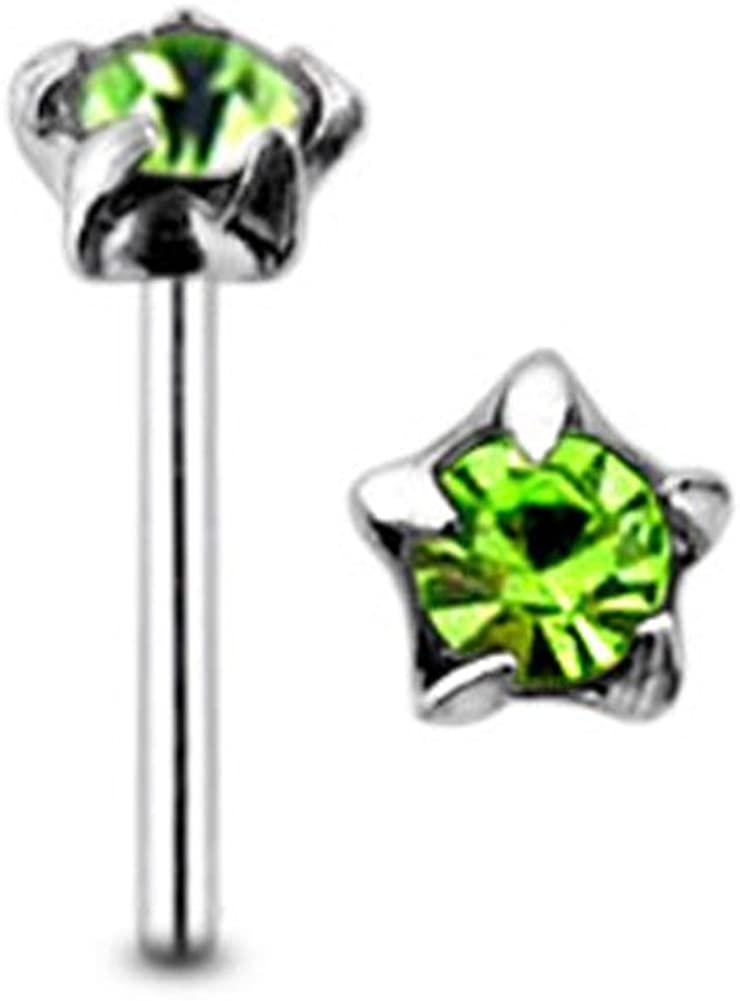 AtoZ Piercing Star Set Round Gemstone Top 22 Gauge - 8MM Length Silver Straight End Nose Stud Nose Pin