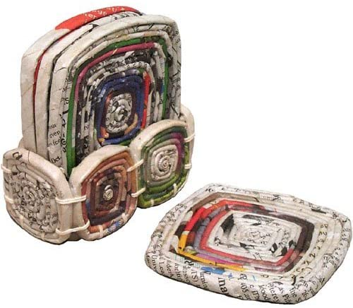 Set Of Four Recycled Newspaper Coasters With Holder 'Recycled Paper Coasters'