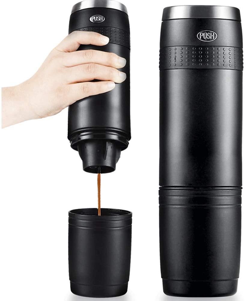 Portable Capsule Coffee Machine Mini Electric Manual Capsule Coffee Portable Outdoor Car Coffee Pot Travel Coffee Pot Espresso Machines (Color : Black, Size : 7.2x26cm)