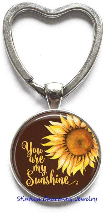 You are My Sunshine Sunflower Key Ring Keychain,Love, Friendship,Quote,Daughter Gift,Quote Jewelry,New Mom,Sister,Best Friend,Inspirational Keychain-JV52