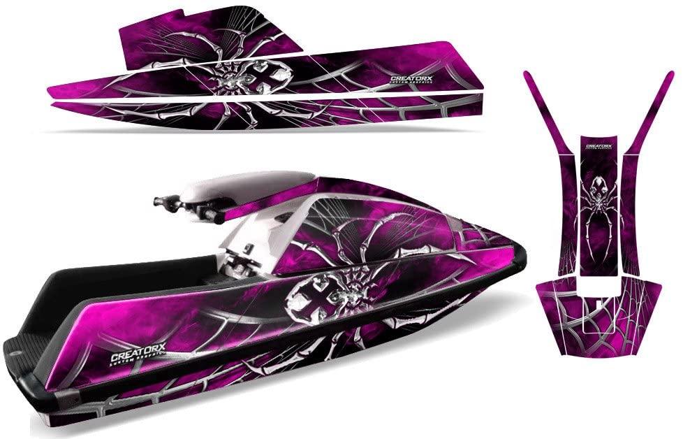 CreatorX Graphics Kit Decals Stickers for Yamaha Superjet Jet Ski Square Nose Jetski SpiderX Pink
