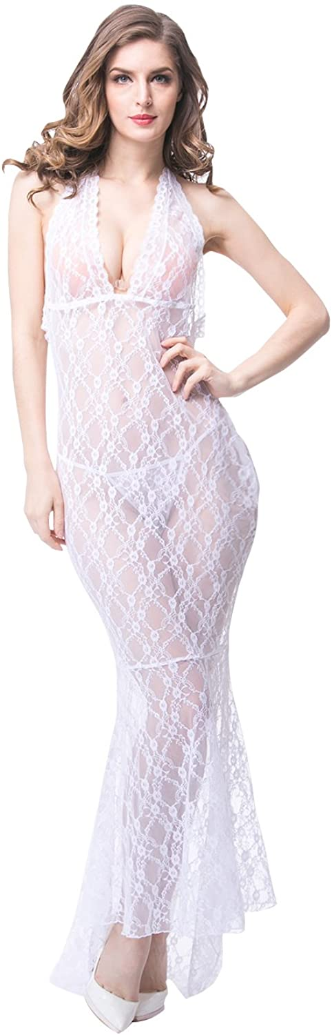 Wholesale Sexy Women Hollow Out Backless Lace Long Lingerie Sleepwear (Pack of 6) White