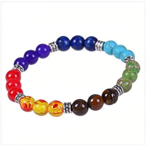 Regeek Strand Bracelets - Bright Moon Charms Bracelet Coloured Glass Seven Color Buddha Bead Tiger Stone Fitness Yoga Bracelet for Women Gift - (Metal Color: Tigers Eyes, Length: 19cm)
