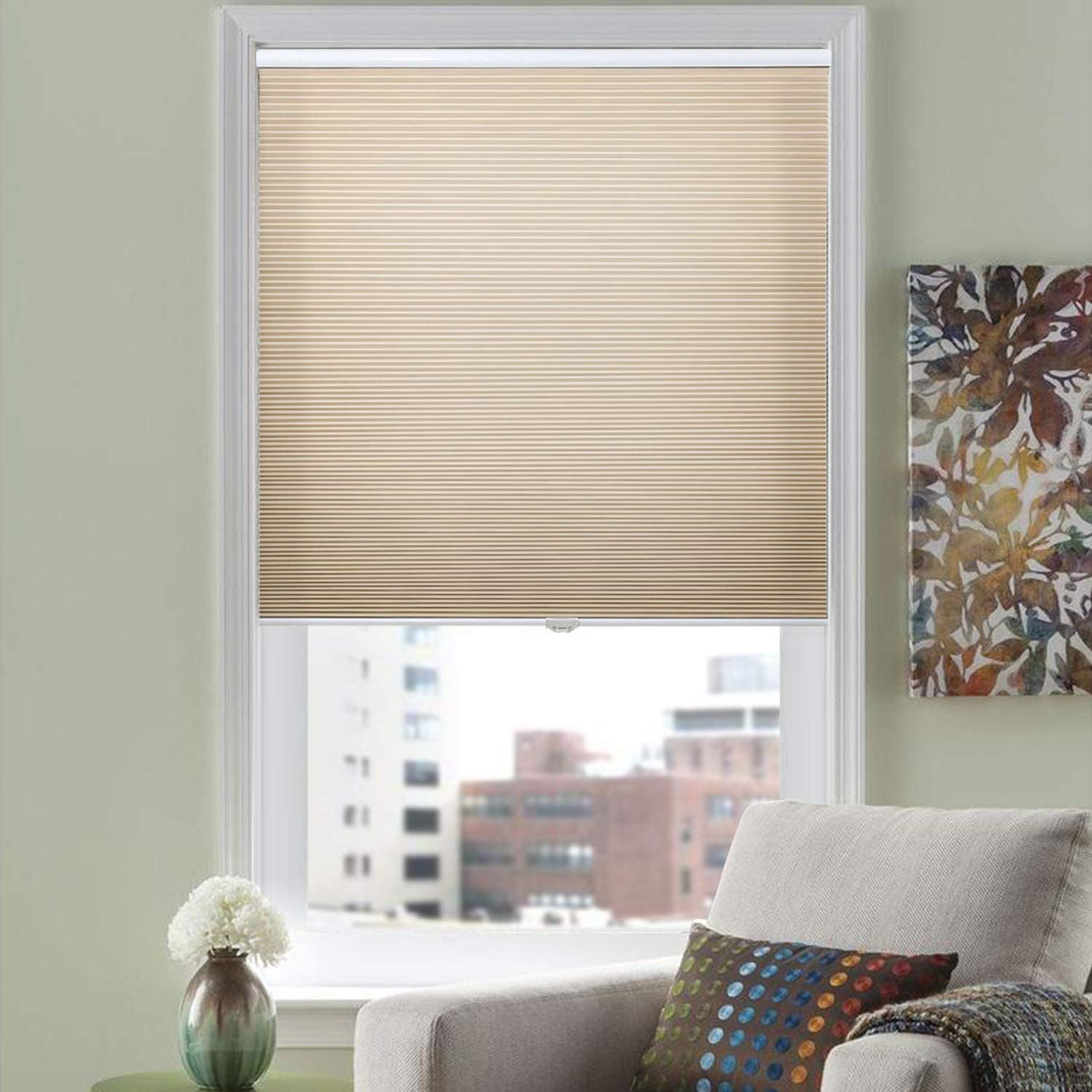 HOMEDEMO Cellular Shades Cordless Window Blinds and Light Filtering Shades, 29