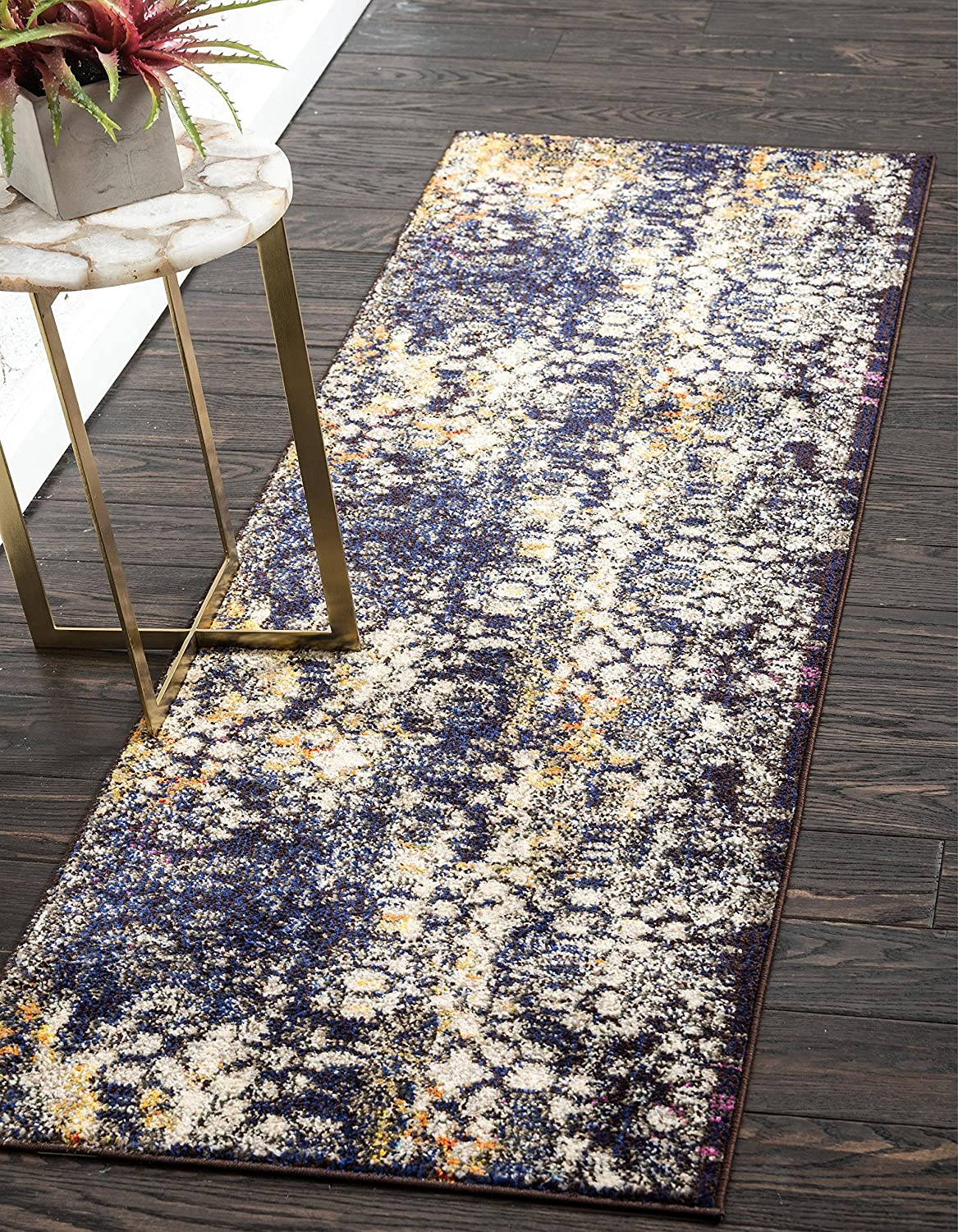 Unique Loom Vita Collection Traditional Over-Dyed Vintage Navy Blue Runner Rug (2' 0 x 6' 7)