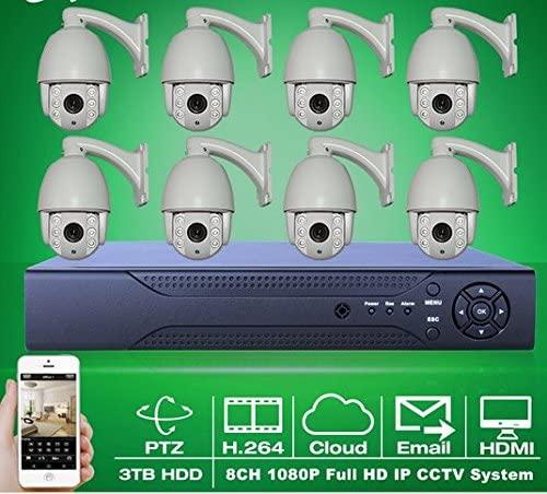 GOWE 3TB HDD 8CH H.264 NVR Kit Onvif 1080P PTZ IP Camera Zoom 2.9-12mm Lens Speed Dome IR P2P Home Security Surveillance CCTV System