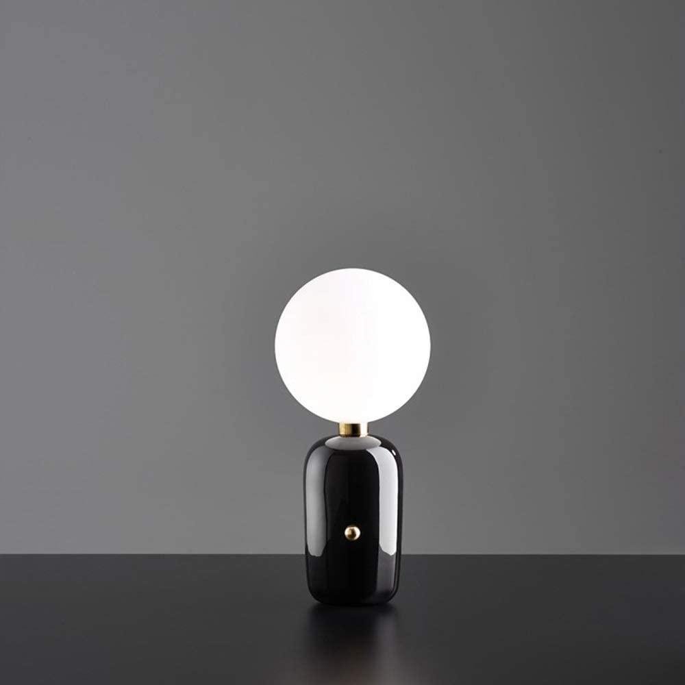BICCQ Table lamp Modern Bedroom Bedside Lamp Creative Designer Model Room Lighting Restaurant Tea Room Glass Table Lamp (Color : Black, Size : M)