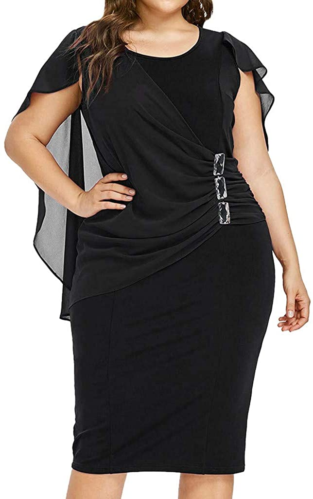 Shirt Luv Fashion Women Casual Chiffon Plus <br><br> Size Solid O-Neck Sleeveless Loose Dress Black 4XL Plus <br><br> Size Dresses for Women