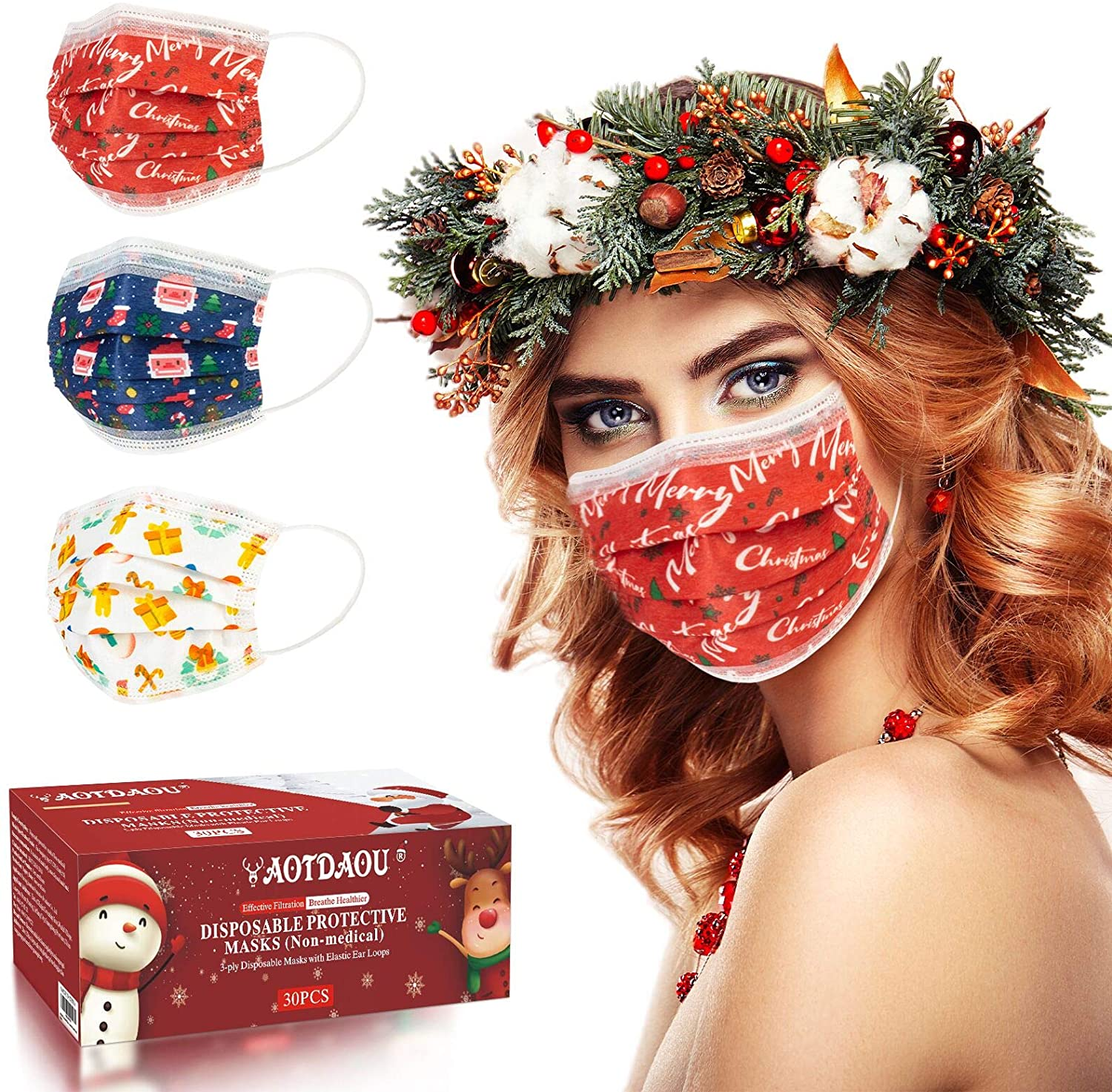 AOTDAOU Face Mask for Women, Christmas Face Mask Disposable, Holiday Face Mask with Breathable 3 Layer Protection - Anti Dust Mask Adult Size with Santa Pattern Designed 30PCS