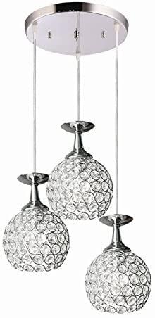 FixtureDisplays Ceiling Pendant Lighting Modern Chandelier with 3 Lights for Restaurant Bar Kitchen Island Dining Room 15853-2-NF
