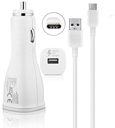 Adaptive Turbo Fast 15W Car Charger Works for Motorola razr (2020) with Quick Charge 2 Detachable Hi-Power USB Type-C Cable! (1.2M White)